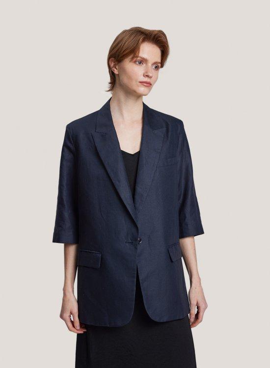 Linen-Cotton One-Button Blazer