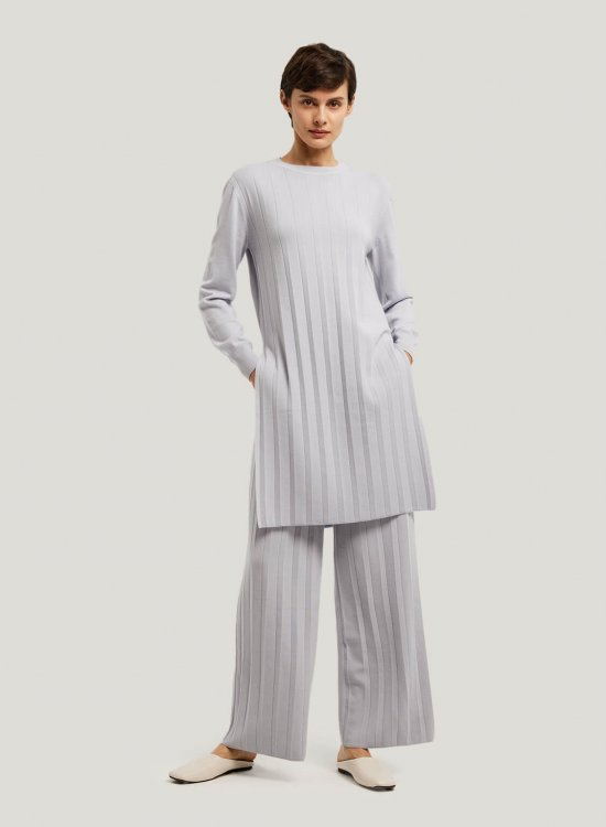 Mellow Pure Merino Wool Top And Wide-Leg Trousers Set