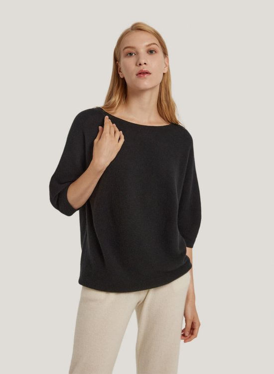 Seamless Pure Cashmere Knit Crewneck Sweater