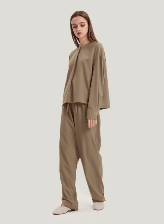 Wool-Blend Blouse And Pants Set